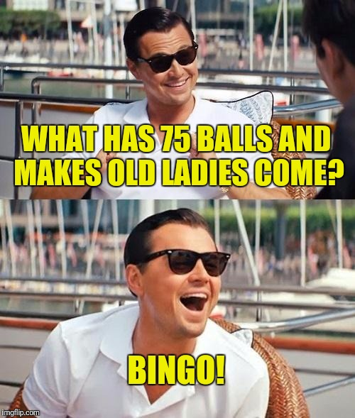 a very old man told me this joke today | WHAT HAS 75 BALLS AND MAKES OLD LADIES COME? BINGO! | image tagged in memes,leonardo dicaprio wolf of wall street | made w/ Imgflip meme maker
