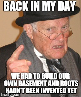 Back In My Day Meme | BACK IN MY DAY WE HAD TO BUILD OUR OWN BASEMENT AND ROOTS HADN'T BEEN INVENTED YET | image tagged in memes,back in my day | made w/ Imgflip meme maker