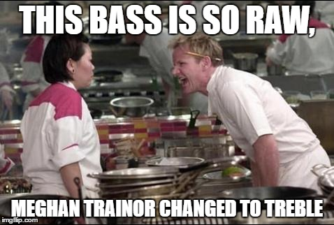 Angry Chef Gordon Ramsay Meme | THIS BASS IS SO RAW, MEGHAN TRAINOR CHANGED TO TREBLE | image tagged in memes,angry chef gordon ramsay | made w/ Imgflip meme maker
