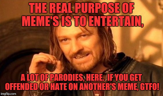One Does Not Simply Meme | THE REAL PURPOSE OF MEME'S IS TO ENTERTAIN, A LOT OF PARODIES, HERE.  IF YOU GET OFFENDED OR HATE ON ANOTHER'S MEME, GTFO! | image tagged in memes,one does not simply | made w/ Imgflip meme maker