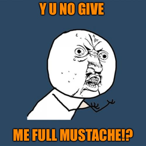 LOL, That bothers me more than the white triangle! | Y U NO GIVE ME FULL MUSTACHE!? | image tagged in memes,y u no,mustache | made w/ Imgflip meme maker