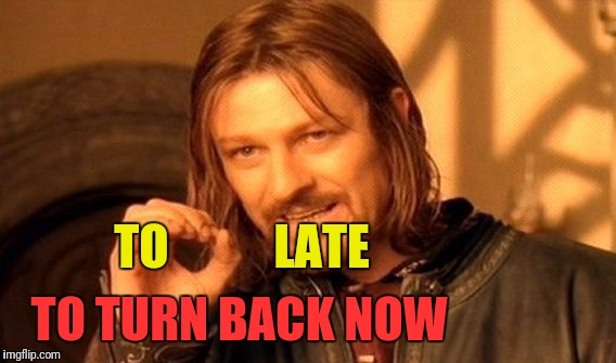 One Does Not Simply Meme | TO           LATE TO TURN BACK NOW | image tagged in memes,one does not simply | made w/ Imgflip meme maker