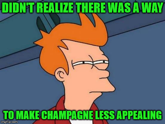 Futurama Fry Meme | DIDN'T REALIZE THERE WAS A WAY TO MAKE CHAMPAGNE LESS APPEALING | image tagged in memes,futurama fry | made w/ Imgflip meme maker