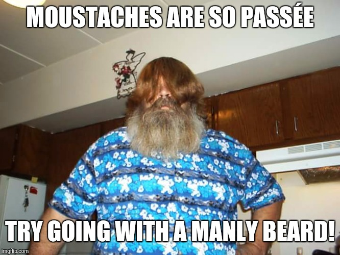 MOUSTACHES ARE SO PASSÉE TRY GOING WITH A MANLY BEARD! | made w/ Imgflip meme maker