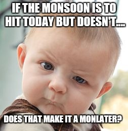 Skeptical Baby Meme | IF THE MONSOON IS TO HIT TODAY BUT DOESN'T.... DOES THAT MAKE IT A MONLATER? | image tagged in memes,skeptical baby | made w/ Imgflip meme maker