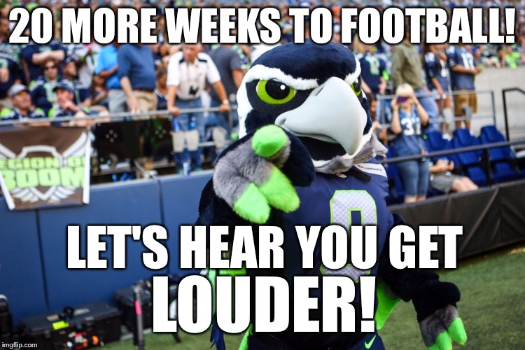 20 More Weeks! | 20 MORE WEEKS TO FOOTBALL! LET'S HEAR YOU GET LOUDER! | image tagged in blitz the seahawk,memes,nfl,seahawks,funny | made w/ Imgflip meme maker