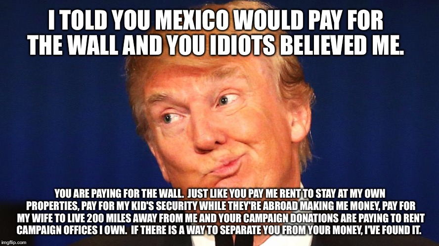 The sheeple refuse to see it | I TOLD YOU MEXICO WOULD PAY FOR THE WALL AND YOU IDIOTS BELIEVED ME. YOU ARE PAYING FOR THE WALL.  JUST LIKE YOU PAY ME RENT TO STAY AT MY O | image tagged in gullible | made w/ Imgflip meme maker