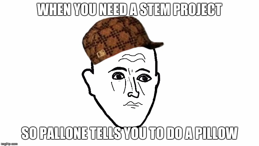Scumbag Pallone |  WHEN YOU NEED A STEM PROJECT; SO PALLONE TELLS YOU TO DO A PILLOW | image tagged in forever pallone,scumbag,pallone,palloner,stem,pillow | made w/ Imgflip meme maker