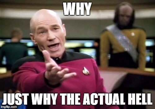 Picard Wtf Meme | WHY JUST WHY THE ACTUAL HELL | image tagged in memes,picard wtf | made w/ Imgflip meme maker