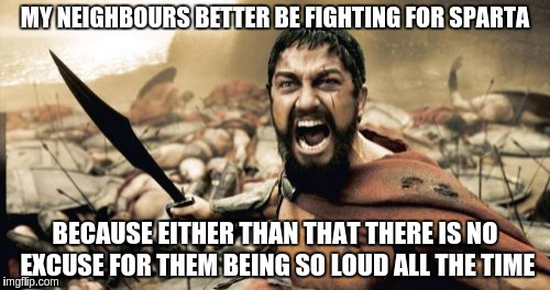 Sparta Leonidas Meme | MY NEIGHBOURS BETTER BE FIGHTING FOR SPARTA BECAUSE EITHER THAN THAT THERE IS NO EXCUSE FOR THEM BEING SO LOUD ALL THE TIME | image tagged in memes,sparta leonidas | made w/ Imgflip meme maker