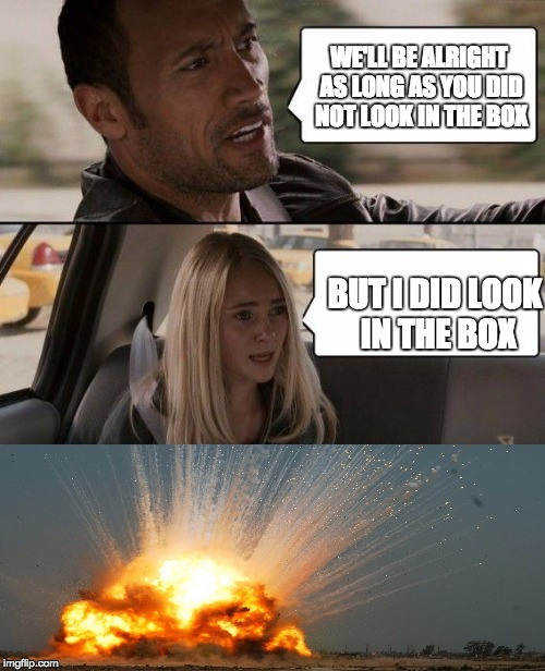 The Rock Driving Meme | WE'LL BE ALRIGHT AS LONG AS YOU DID NOT LOOK IN THE BOX BUT I DID LOOK IN THE BOX | image tagged in memes,the rock driving | made w/ Imgflip meme maker