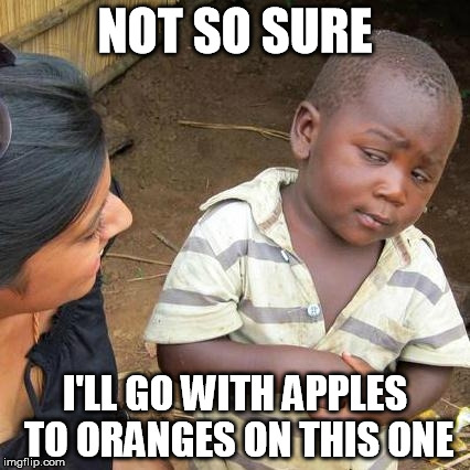 Third World Skeptical Kid Meme | NOT SO SURE I'LL GO WITH APPLES TO ORANGES ON THIS ONE | image tagged in memes,third world skeptical kid | made w/ Imgflip meme maker