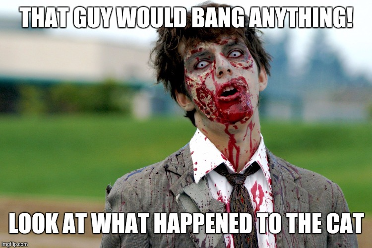 Zombie guy | THAT GUY WOULD BANG ANYTHING! LOOK AT WHAT HAPPENED TO THE CAT | image tagged in zombie guy | made w/ Imgflip meme maker