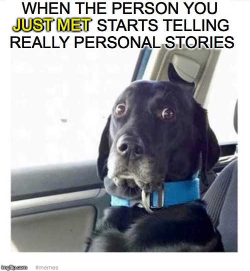 A Personal Affair | WHEN THE PERSON YOU JUST MET STARTS TELLING REALLY PERSONAL STORIES JUST MET | image tagged in funny dogs | made w/ Imgflip meme maker