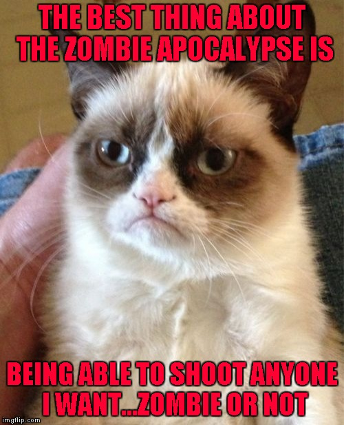 It's time to settle some scores!!!  Radiation/Zombie Week - A NexusDarkshade & ValerieLyn Event | THE BEST THING ABOUT THE ZOMBIE APOCALYPSE IS BEING ABLE TO SHOOT ANYONE I WANT...ZOMBIE OR NOT | image tagged in memes,grumpy cat,zombies,zombie week,funny,radiation zombie week | made w/ Imgflip meme maker