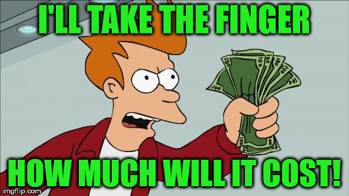 Take My Money Fry | I'LL TAKE THE FINGER HOW MUCH WILL IT COST! | image tagged in take my money fry | made w/ Imgflip meme maker