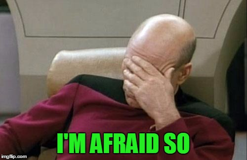 Captain Picard Facepalm Meme | I'M AFRAID SO | image tagged in memes,captain picard facepalm | made w/ Imgflip meme maker