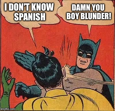 Batman Slapping Robin Meme | I DON'T KNOW SPANISH DAMN YOU BOY BLUNDER! | image tagged in memes,batman slapping robin | made w/ Imgflip meme maker
