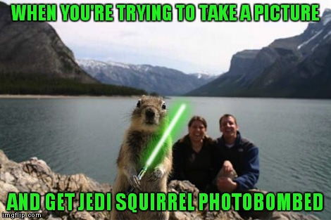 WHEN YOU'RE TRYING TO TAKE A PICTURE AND GET JEDI SQUIRREL PHOTOBOMBED | made w/ Imgflip meme maker
