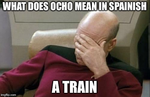 Captain Picard Facepalm Meme | WHAT DOES OCHO MEAN IN SPAINISH A TRAIN | image tagged in memes,captain picard facepalm | made w/ Imgflip meme maker