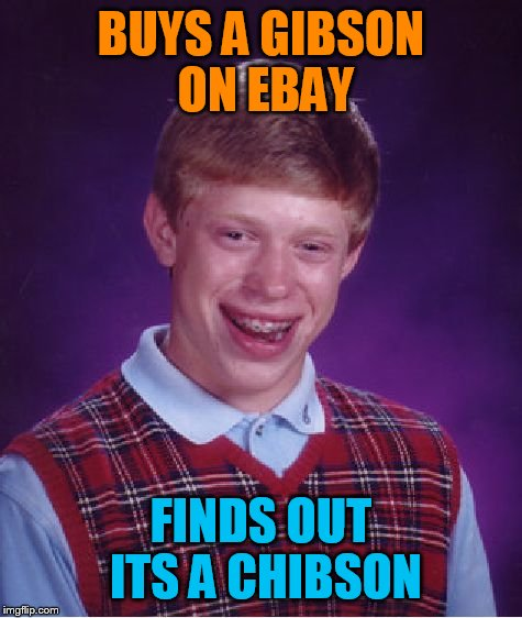 Why I won't buy a guitar online ever again | BUYS A GIBSON ON EBAY FINDS OUT ITS A CHIBSON | image tagged in memes,bad luck brian | made w/ Imgflip meme maker