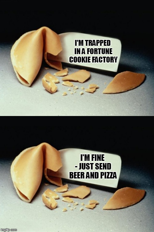 I'M TRAPPED IN A FORTUNE COOKIE FACTORY I'M FINE - JUST SEND BEER AND PIZZA | made w/ Imgflip meme maker