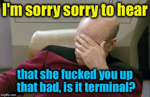 Captain Picard Facepalm Meme | I'm sorry sorry to hear that she f**ked you up that bad, is it terminal? | image tagged in memes,captain picard facepalm | made w/ Imgflip meme maker