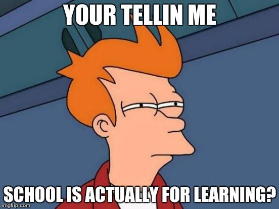 Wait, it is? | YOUR TELLIN ME SCHOOL IS ACTUALLY FOR LEARNING? | image tagged in funny memes,it is what it is | made w/ Imgflip meme maker