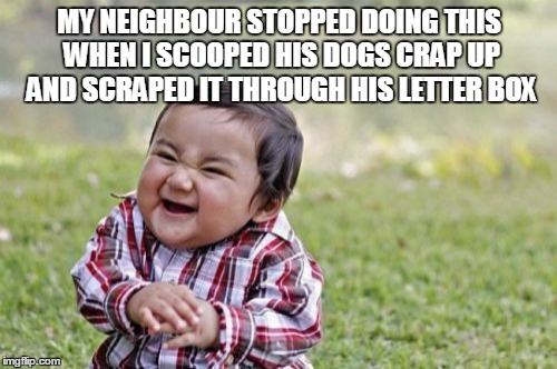 Evil Toddler Meme | MY NEIGHBOUR STOPPED DOING THIS WHEN I SCOOPED HIS DOGS CRAP UP AND SCRAPED IT THROUGH HIS LETTER BOX | image tagged in memes,evil toddler | made w/ Imgflip meme maker