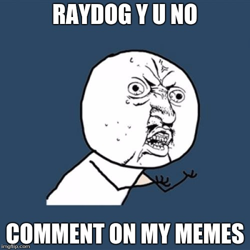 Y U No Meme | RAYDOG Y U NO COMMENT ON MY MEMES | image tagged in memes,y u no | made w/ Imgflip meme maker