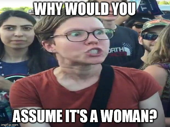 WHY WOULD YOU ASSUME IT'S A WOMAN? | made w/ Imgflip meme maker