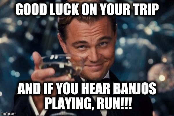 Leonardo Dicaprio Cheers Meme | GOOD LUCK ON YOUR TRIP AND IF YOU HEAR BANJOS PLAYING, RUN!!! | image tagged in memes,leonardo dicaprio cheers | made w/ Imgflip meme maker