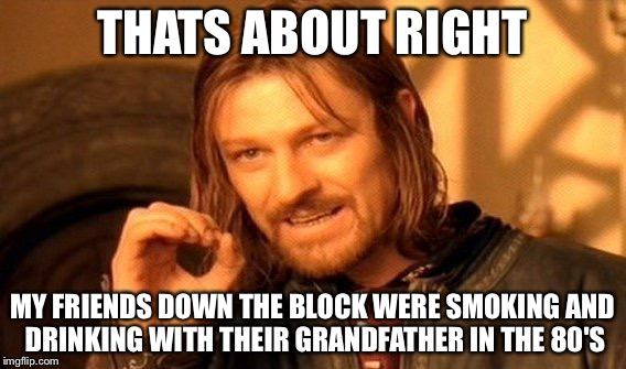 One Does Not Simply Meme | THATS ABOUT RIGHT MY FRIENDS DOWN THE BLOCK WERE SMOKING AND DRINKING WITH THEIR GRANDFATHER IN THE 80'S | image tagged in memes,one does not simply | made w/ Imgflip meme maker