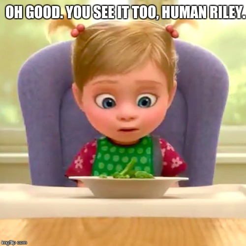 Riley Connectig with Ew Little Girl Meme |  OH GOOD. YOU SEE IT TOO, HUMAN RILEY. | image tagged in little girl | made w/ Imgflip meme maker