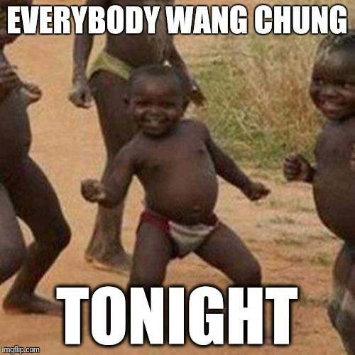 Third World Success Kid Meme | EVERYBODY WANG CHUNG TONIGHT | image tagged in memes,third world success kid | made w/ Imgflip meme maker
