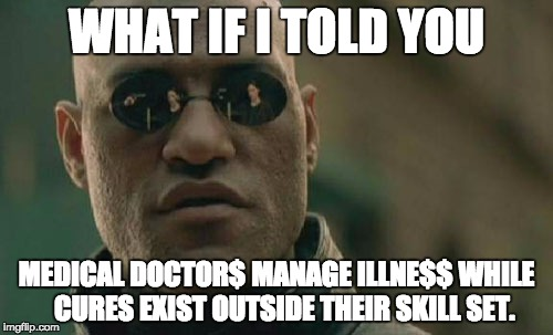 Matrix Morpheus Meme | WHAT IF I TOLD YOU MEDICAL DOCTOR$ MANAGE ILLNE$$ WHILE   CURES EXIST OUTSIDE THEIR SKILL SET. | image tagged in memes,matrix morpheus | made w/ Imgflip meme maker