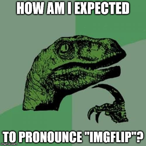 "Philosoraptor Meme | HOW AM I EXPECTED TO PRONOUNCE ""IMGFLIP""? 