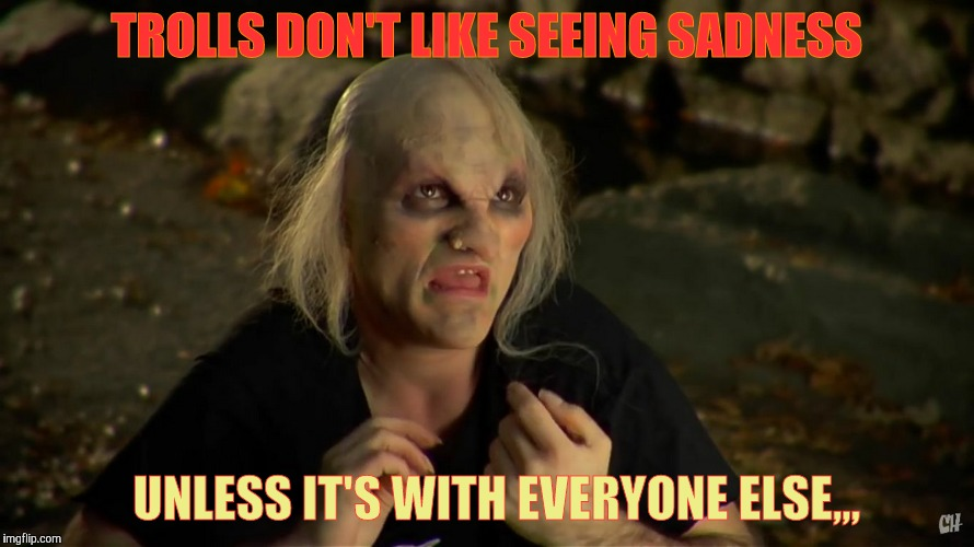 Internet Bridge Troll,,, | TROLLS DON'T LIKE SEEING SADNESS UNLESS IT'S WITH EVERYONE ELSE,,, | image tagged in internet bridge troll   | made w/ Imgflip meme maker