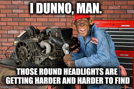 Grease monkey | I DUNNO, MAN. THOSE ROUND HEADLIGHTS ARE GETTING HARDER AND HARDER TO FIND | image tagged in grease monkey | made w/ Imgflip meme maker