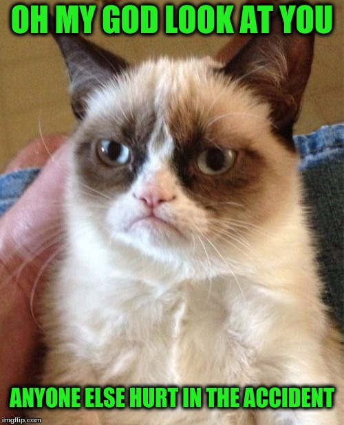 Grumpy Cat Meme | OH MY GOD LOOK AT YOU ANYONE ELSE HURT IN THE ACCIDENT | image tagged in memes,grumpy cat | made w/ Imgflip meme maker