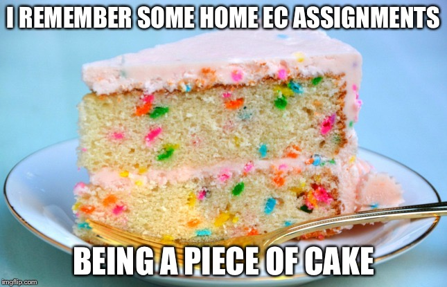 Bring it back | I REMEMBER SOME HOME EC ASSIGNMENTS BEING A PIECE OF CAKE | image tagged in party cake | made w/ Imgflip meme maker