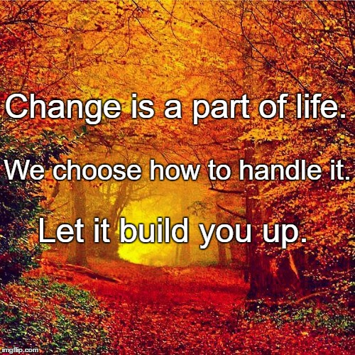 Autumn walk | Change is a part of life. Let it build you up. We choose how to handle it. | image tagged in autumn walk | made w/ Imgflip meme maker