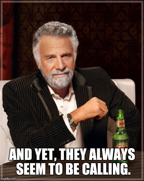 The Most Interesting Man In The World Meme | AND YET, THEY ALWAYS SEEM TO BE CALLING. | image tagged in memes,the most interesting man in the world | made w/ Imgflip meme maker