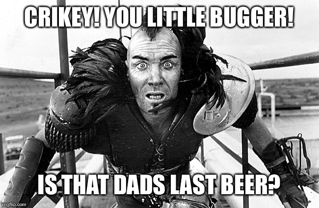 CRIKEY! YOU LITTLE BUGGER! IS THAT DADS LAST BEER? | made w/ Imgflip meme maker