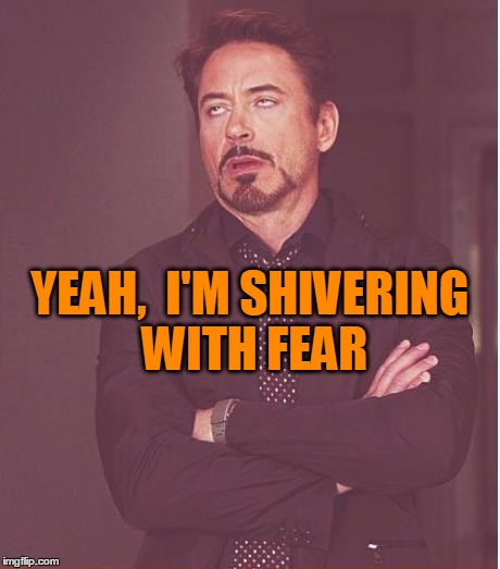 Face You Make Robert Downey Jr Meme | YEAH,  I'M SHIVERING WITH FEAR | image tagged in memes,face you make robert downey jr | made w/ Imgflip meme maker