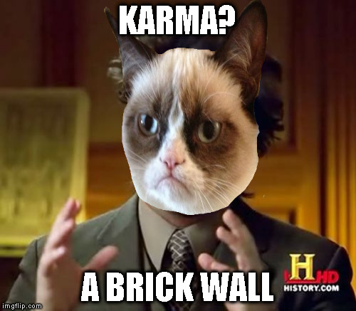 Ancient Aliens Meme | KARMA? A BRICK WALL | image tagged in memes,ancient aliens | made w/ Imgflip meme maker