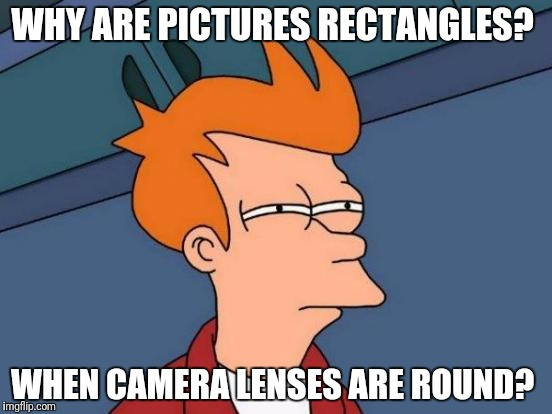 Futurama Fry Meme | WHY ARE PICTURES RECTANGLES? WHEN CAMERA LENSES ARE ROUND? | image tagged in memes,futurama fry | made w/ Imgflip meme maker