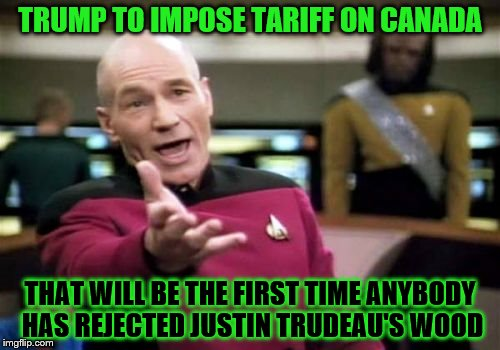 Picard Wtf Meme | TRUMP TO IMPOSE TARIFF ON CANADA THAT WILL BE THE FIRST TIME ANYBODY HAS REJECTED JUSTIN TRUDEAU'S WOOD | image tagged in memes,picard wtf | made w/ Imgflip meme maker