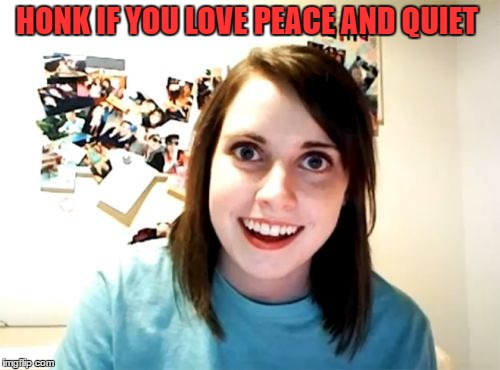 Overly Attached Girlfriend Meme | HONK IF YOU LOVE PEACE AND QUIET | image tagged in memes,overly attached girlfriend | made w/ Imgflip meme maker