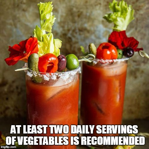 AT LEAST TWO DAILY SERVINGS OF VEGETABLES IS RECOMMENDED | made w/ Imgflip meme maker